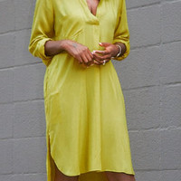 Yellow Long Sleeves V-Neck Chiffon Dress