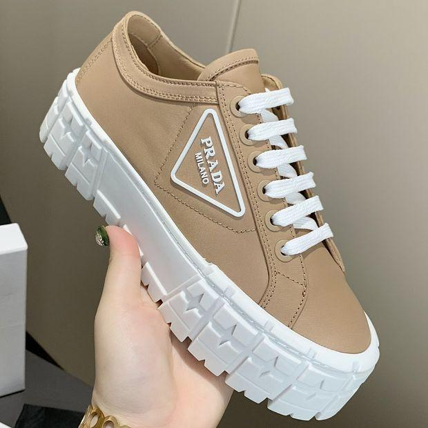 Image of Prada New Canvas Embroidered Platform Shoes Women's Triangle Logo Casual Shoes sneakers Khaki
