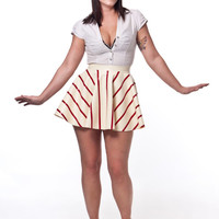 Custom Latex Candy Cane Cabaret Circle Skirt- 1950s pin up style