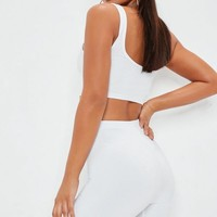 Missguided - White Slinky Biker Shorts
