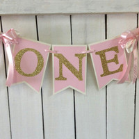 Pink and gold birthday HIGH CHAIR banner Ballerina birthday Ballerina party princess party pink gold 1st birthday couture