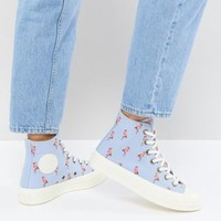 Converse Chuck Taylor All Star 70 Hi Sneakers In Blue Embroidered Flamingos at asos.com