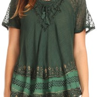 Sakkas Diane Short Sleeve Slim Top Blouse with Sequin Embroidery & Golden Print