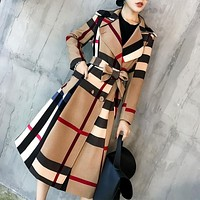 2019 Autumn and winter new style Vintage female trench coat long overcoat Bow trend plus size Khaki clothes women fashion -85