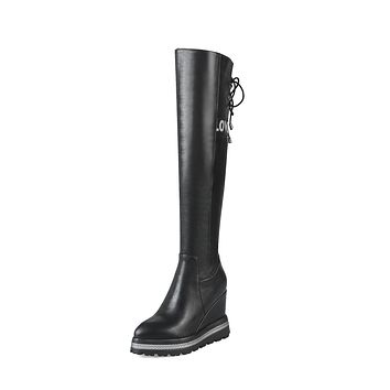 Faux Leather Platform Wedge Over the Knee Boots Winter Shoes for Woman 5617