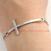 bracelet, cross bracelet, antique silver cross bracelet