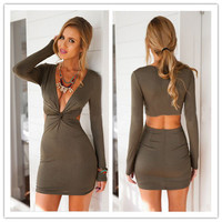 Fashion Female Solid Color Deep V Waist Crisscross Knotted Hollow Pack-hip Knit Long Sleeve Mini Dress