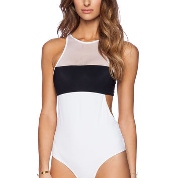 Contrast Mesh Accent Sleeveless Cutout Swimsuit