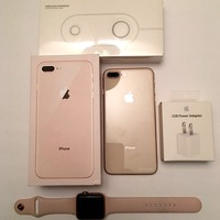 """Iphone 8 Plus Gold 5.5"""" 256 GB GSM Unlocked Gold   Iwatch Bands 42mm Wireless Charger Fast Charger Usb Power Adapter"""