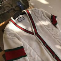 Gucci Women Man Crochet Buttons Cardigan Knitwear