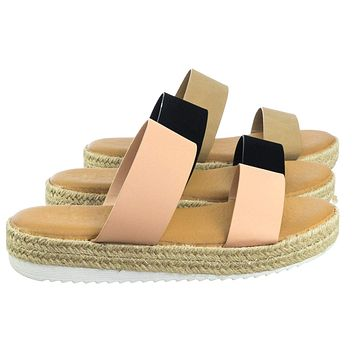 Superb03 Espadrille Jute Rope Platform Slide In Slipper Flatform w Shark tooth