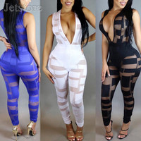 2016 New Fashion Summer Deep v neck Mesh Transparent Jumpsuit sexy Ladies Bodycon Vestido Women Night Clubwear Clothes Playsuits
