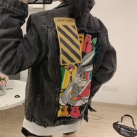 """""""Off-White"""" Women Casual Bugs Bunny Distressed Cartoon Worn Lapel Letter Embroidery Long Sleeve Cardigan Denim Coat"""