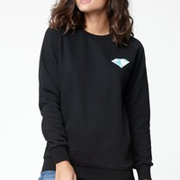 Diamond Supply Co Patch Crew Neck Sweatshirt - Womens Hoodie - Black