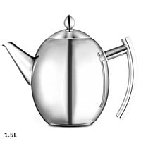 1.5L Polished Stainless Steel Teapot Kettle With Strainer