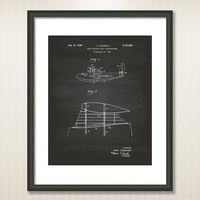 Flying Wing 1937 Patent Art Illustration - Drawing - Printable INSTANT DOWNLOAD - Get 5 Colors Background