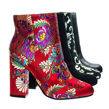 Namaste05 Floral Embroidery Block Heel Ankle Bootie w Faux Fur Lining