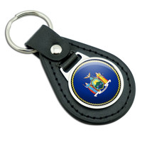New York State Flag Black Leather Keychain