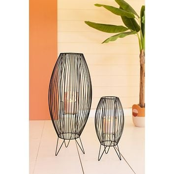Set Of Two Tall Wire Lanterns