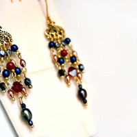 Chandelier earrings swarovski crystal earrings on gold vermeil earhooks