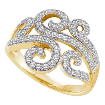 14kt Yellow Gold Womens Round Diamond Curled Swirl Fashion Band Ring 1/2 Cttw