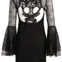 Womens Black Lace Spiderweb Look Textured Bell Sleeve Dress with Cutout Skull Back - Size X-Large