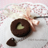 Kawaii cute chocolate cookie vanilla cream bowknot lace cell phone strap charm