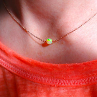 High Color Play Micro Ethiopian Welo Fire Opal Round Stone Solitaire Pendant Necklace & 925 Sterling Silver or 14k Rose Gold Fill Chain