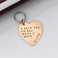 GIFT Key chain- I love you to the moon and back custom gift personalized key ring mother's day gifts, gift for lover