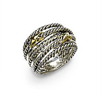 David Yurman - Sterling Silver & 18K Gold Double X Crossover Ring - Saks Fifth Avenue Mobile