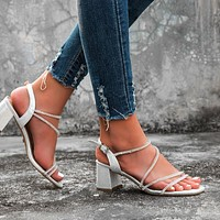 2020 new women's rhinestone word with thick heel high heel sandals shoes