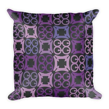 Purple, Black and Blue Square Pillow in African Adinkra Symbol Print - Home decor pillow