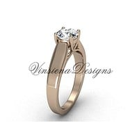 "14kt rose gold engagement ring, ""Forever One"" Moissanite VD10018"