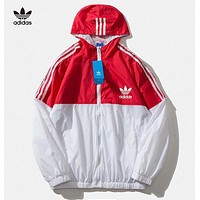 Adidas New fashion letter leaf print hooded long sleeve trench coat windbreaker