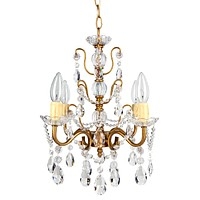 4 Light Shabby Chic Crystal Plug-In Chandelier (Gold)