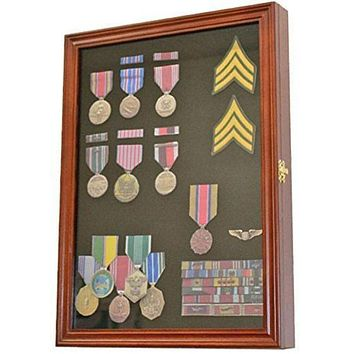 Display Case Wall Frame Cabinet for Military Medals, Pins, Patches, Insignia etc.