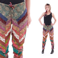 Patchwork Pants Colorful Abstract Mid Rise Tapered Trousers Boho Hippie Chic 70s Vintage Clothing Womens Size XS Small