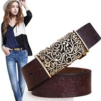 Genuine Cow skin Leather Belts For Women Carved Design Retro Metal Women Strap Female High Quality Belts