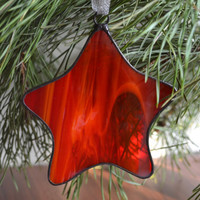 Star Suncatcher, Stained Glass Star Ornament in red color, Modern window art glass decor