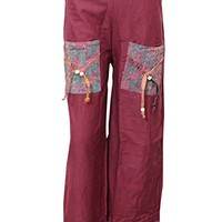 Womens Casual Palazzo Pant Maroon Fold Over Waist Gypsy Hippi Yoga Trouser: Amazon.ca: Clothing & Accessories