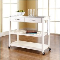 Stainless Steel Top Kitchen Cart Island in White on Casters