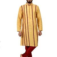 Indian Traditional Cotton Silk Golden Yellow Kurta Pajama for Men