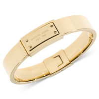 Michael Kors Gold-Tone Logo Plaque Bangle Bracelet