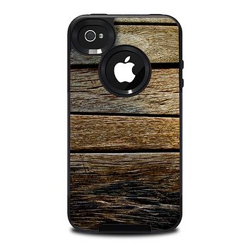 The Uneven Dark Wooden Planks Skin for the iPhone 4-4s OtterBox Commuter Case