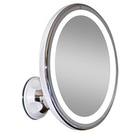 "LED Makeup Mirror - Adjustable 7x Magnification Lighted Makeup Mirror Vanity. Warm LED Tap Light Bathroom Mirror with Powerful Rotating, Locking Suction. 6"" Wide. Wireless & Compact as Travel Mirror"