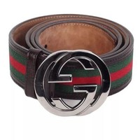 Gucci Brown Trim Green Red Green Classic Belt. Comes with Belt and Dustbag.