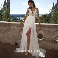 Beach Wedding Dresses  Boho Wedding Dresses Chiffon Lace Appliques Bridal Gowns Country Bride Dress