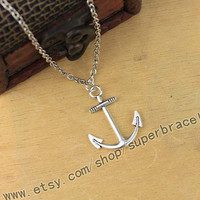 "Anchor necklace, Antique Silver necklace, ""women cuff necklace, express Personalized Jewelry, graduation gift"