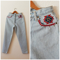 Embroidered Studded Mom Jeans 90s High Waist Aztec Boho Fall Womens White Wash Denim Pants Size 10