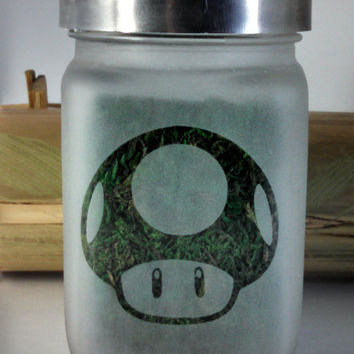 Power Up Mushroom Etched Glass Stash Jar inspired by Super Mario Brothers - Free UPGRADE to Priority Shipping within the US